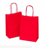 Red Small Italian Twist Handle Paper Gift Bag (15cm x 8cm x 20cm)